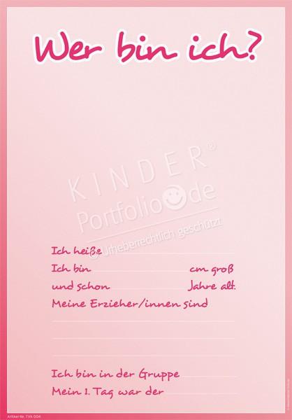 Kindergarten Portfolio Vorlagen Wer Bin Ich Rot