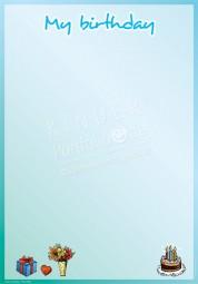 Mein Geburtstag am... (Blau) - Portfoliovorlage in Englisch