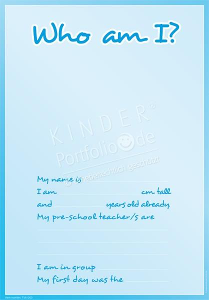 Kindergarten Portfolio Vorlagen Wer Bin Ich Blau Englisch