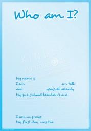 Wer bin ich? (Blau) - Portfoliovorlage in Englisch