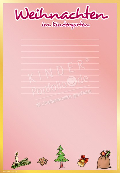 Kindergarten Portfolio Vorlagen - Weihnachten im Kindergarten