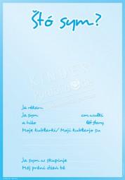 Wer bin ich? (Blau) - Portfoliovorlage in Sorbisch